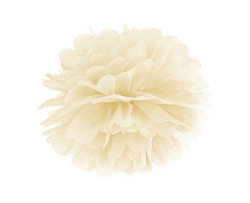 Pompom crème wit 35cm, per stuk