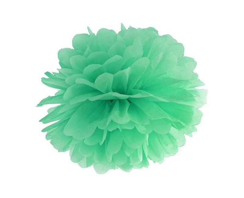 Pompom mint 35cm, per stuk