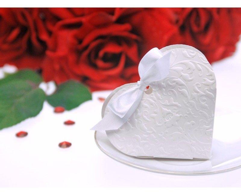 Bedankdoosje wit hart met satijn lint, 10 stuks