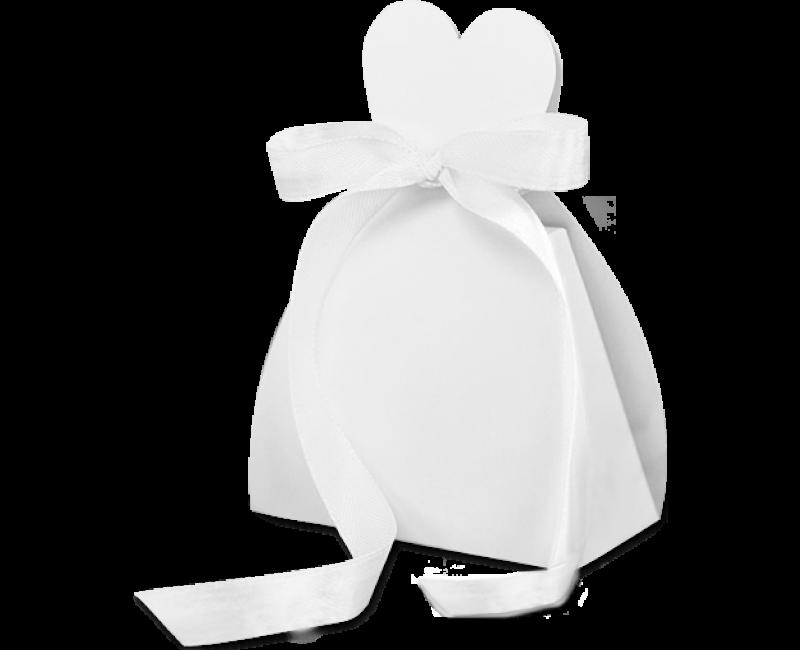 Bedankdoosje bruid met satijn lint, 10 stuks