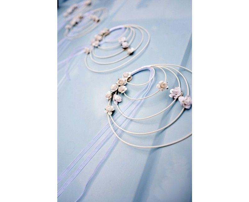 Rattan kransen met lichtroze rozen en lint, 4 stuks