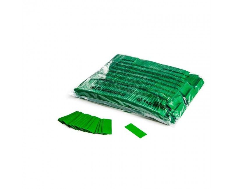 Slowfall paper confetti groen rectangles 17 x 55mm brandvertragend, 1 kg