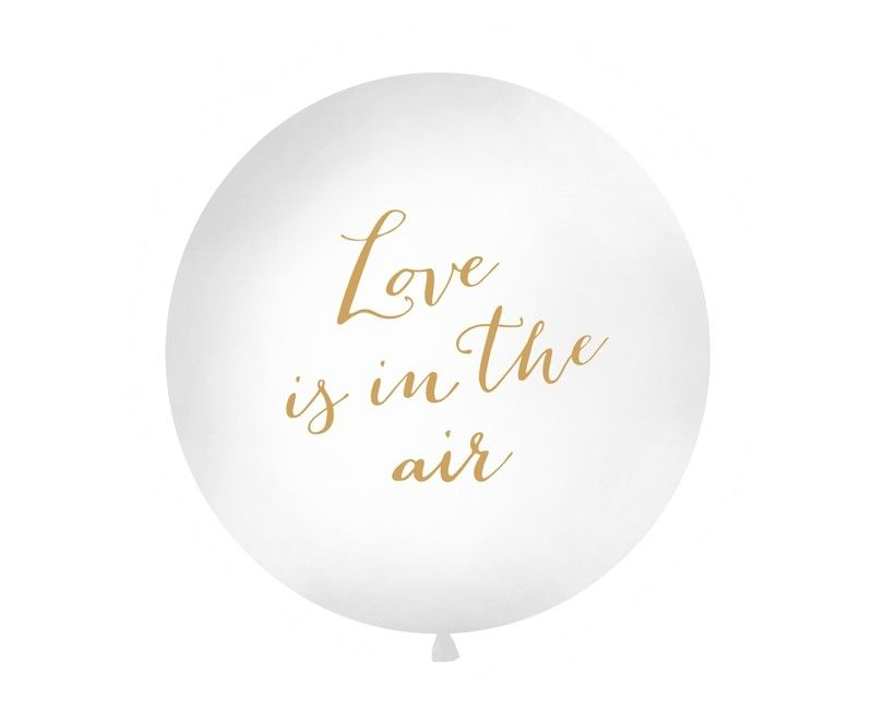 "Reuzeballon 90cm ""Love is in the air"" goud, per stuk"
