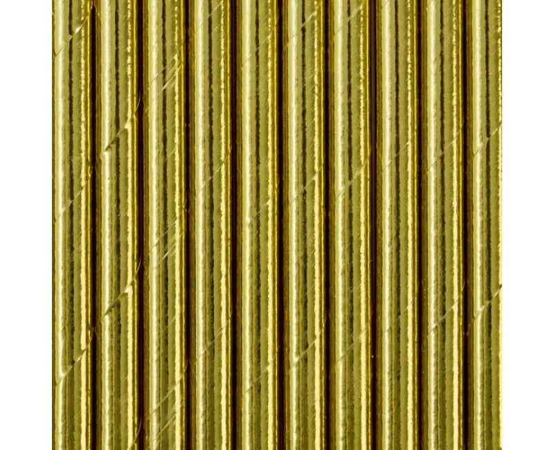Papieren rietjes goud metallic, 10 stuks
