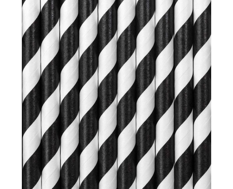 Papieren rietjes twist zwart, 10 stuks