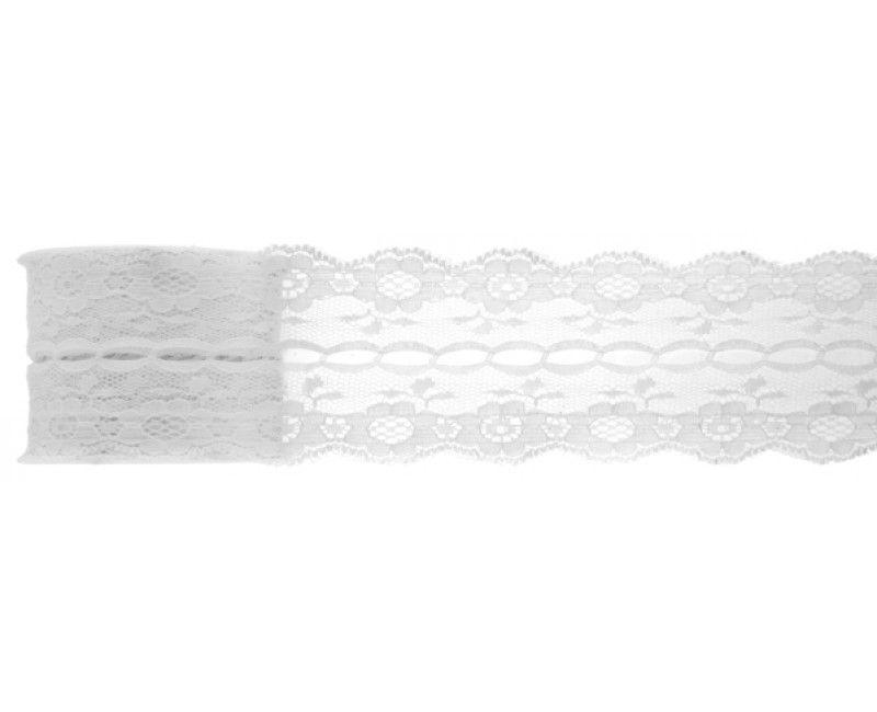 Rol kanten lint wit 50 mm breed, 3mtr