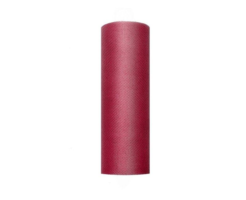 Tule diep rood 15cm breed, rol 9 mtr