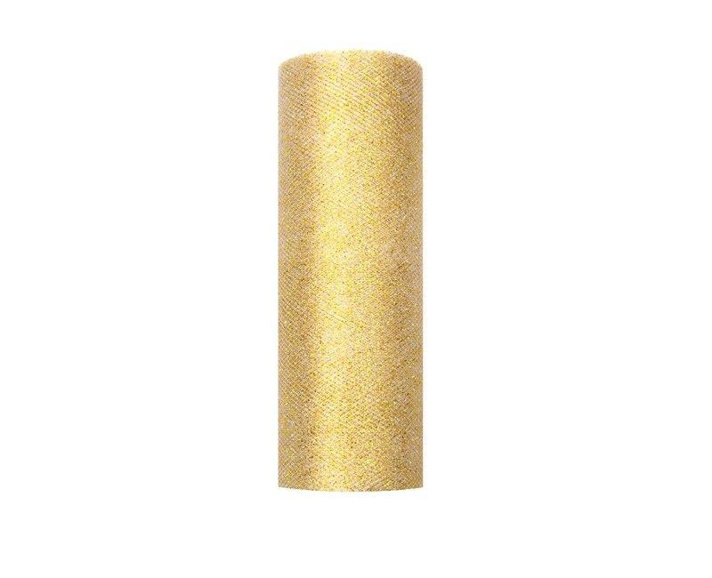 Tule goud glitter 15cm breed, rol 9 mtr