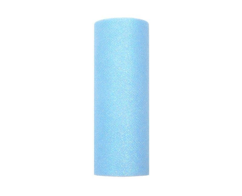 Tule lichtblauw glitter 15cm breed, rol 9 mtr