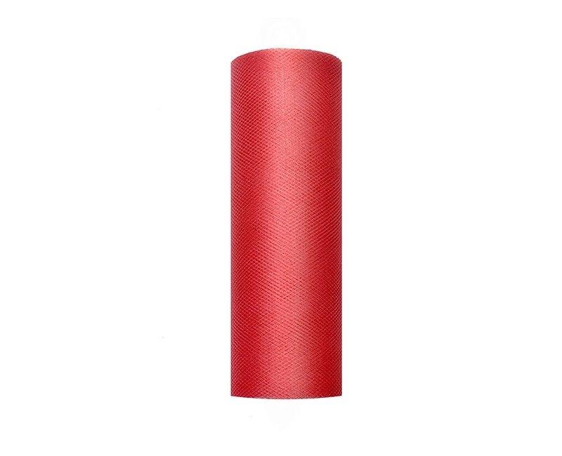 Tule rood 15cm breed, rol 9 mtr