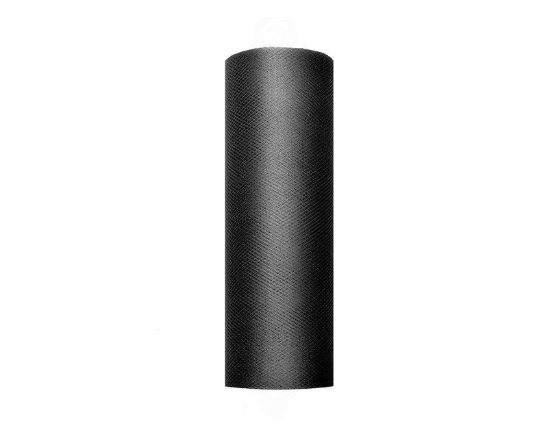 Tule zwart 15cm breed, rol 9 mtr