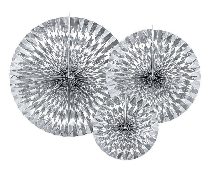 Papieren waaier zilver metallic effen, 3 stuks