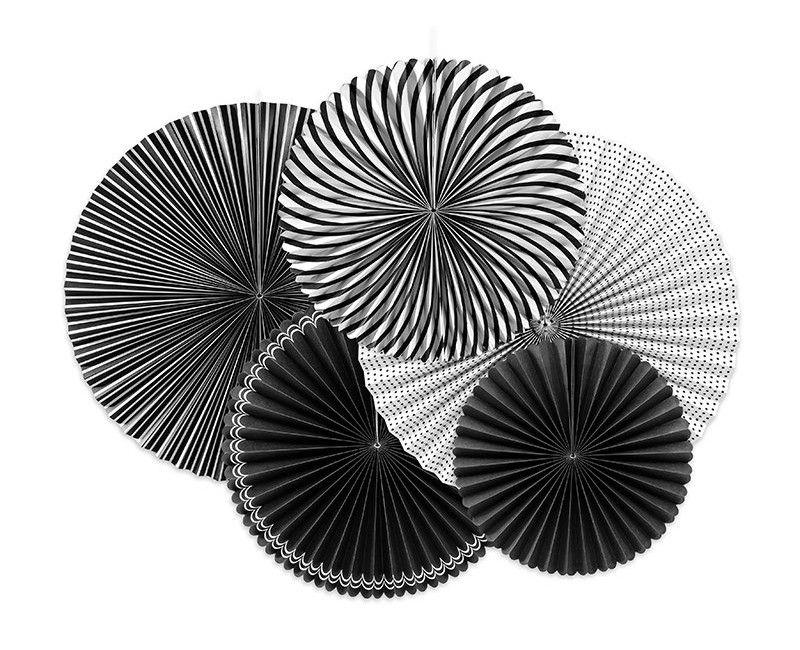 Papieren waaier zwart wit mix, 5 stuks