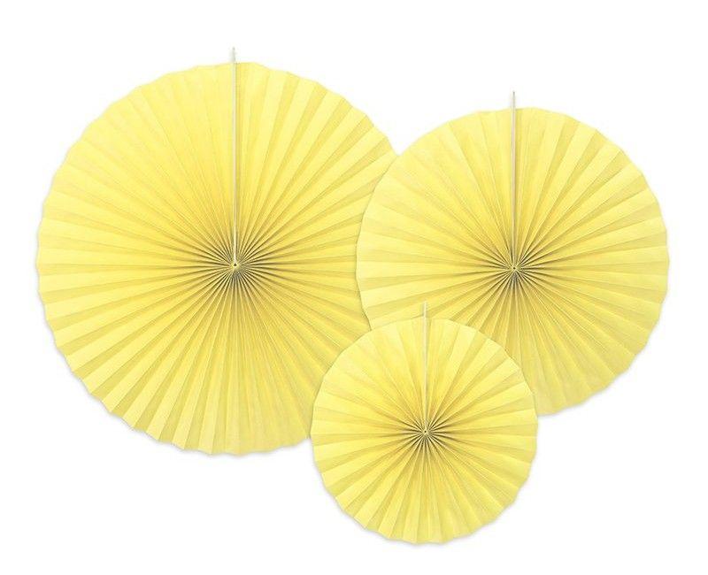 Papieren waaiers geel, 3 stuks