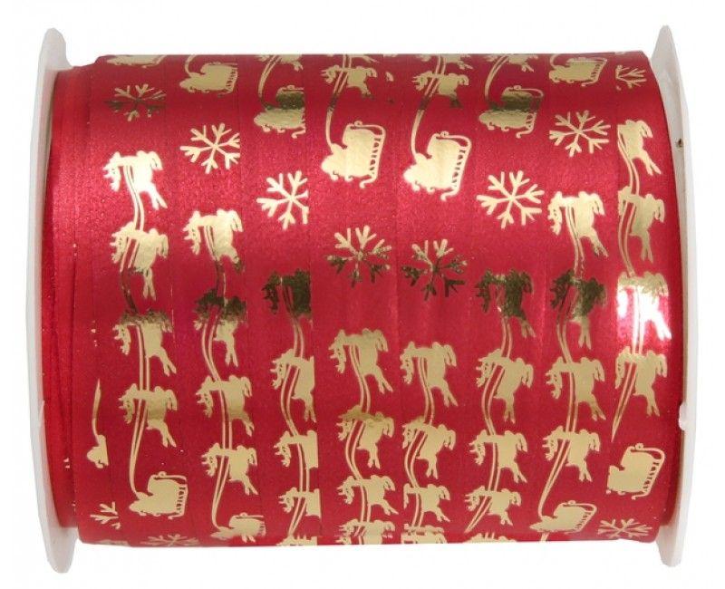 Santa's slee cadeaulint rood metallic, rol 25 meter