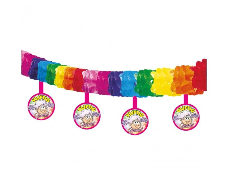 Sarah slinger met onderhangers regenboog, lengte 4mtr