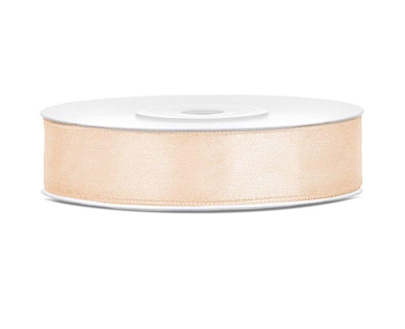 Satijn lint crème wit 12mm, rol 25 mtr