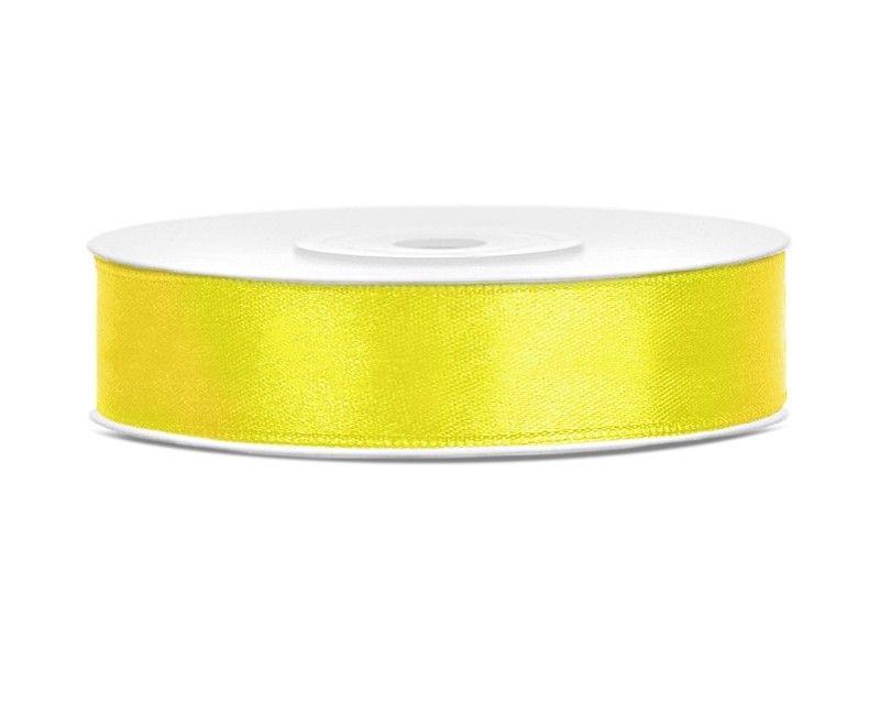 Satijn lint geel 12mm breed, rol 25 mtr