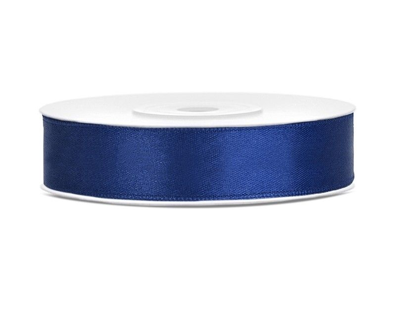 Satijn lint navy blauw 12mm breed, rol 25 mtr