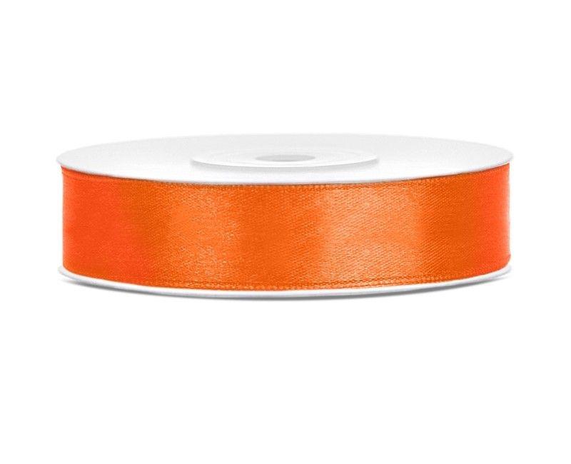 Satijn lint oranje 12mm breed, rol 25 mtr