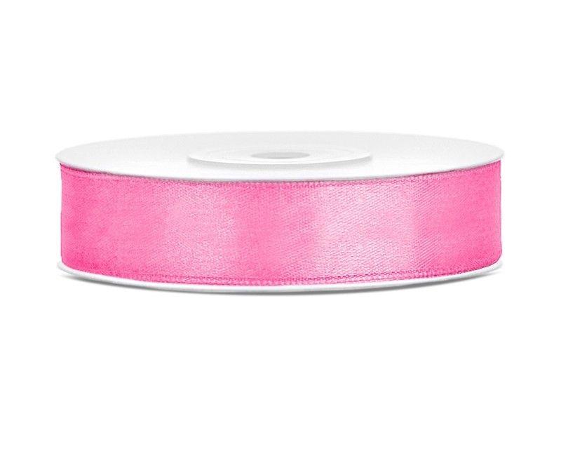 Satijn lint roze 12mm breed, rol 25 meter