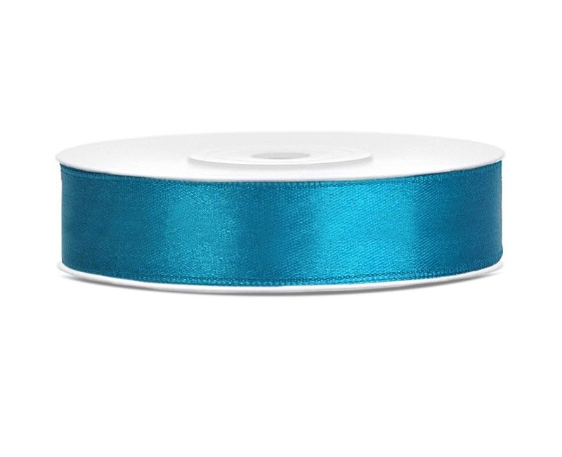 Satijn lint turquoise 12mm breed, rol 25 mtr
