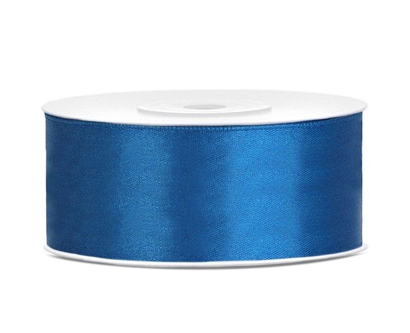 Satijn lint blauw 25mm breed, rol 25 mtr