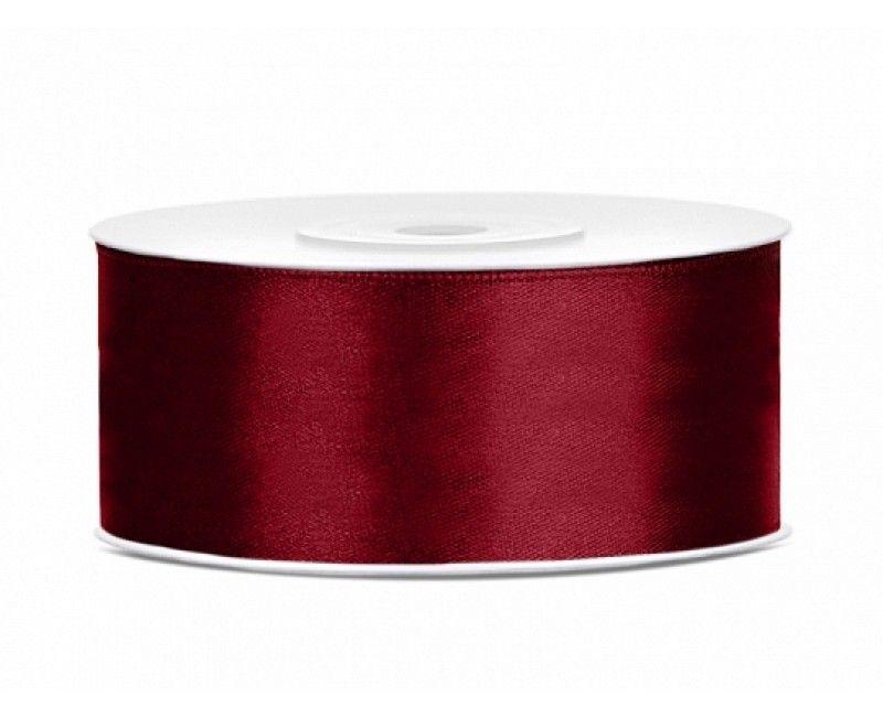 Satijn lint diep rood 25mm breed, rol 25 meter