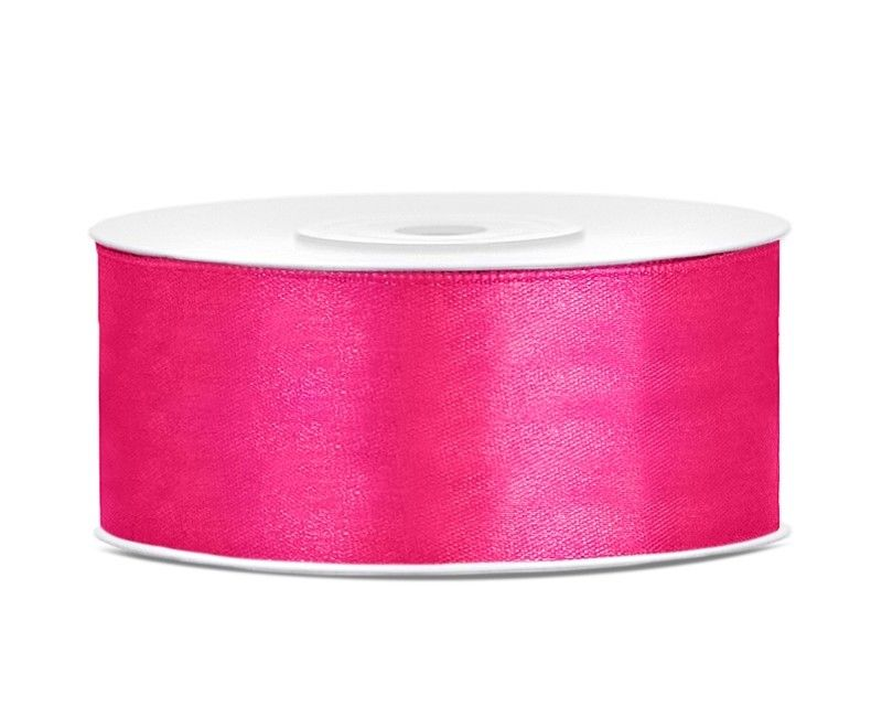 Satijn lint diep roze 25mm breed, rol 25 mtr