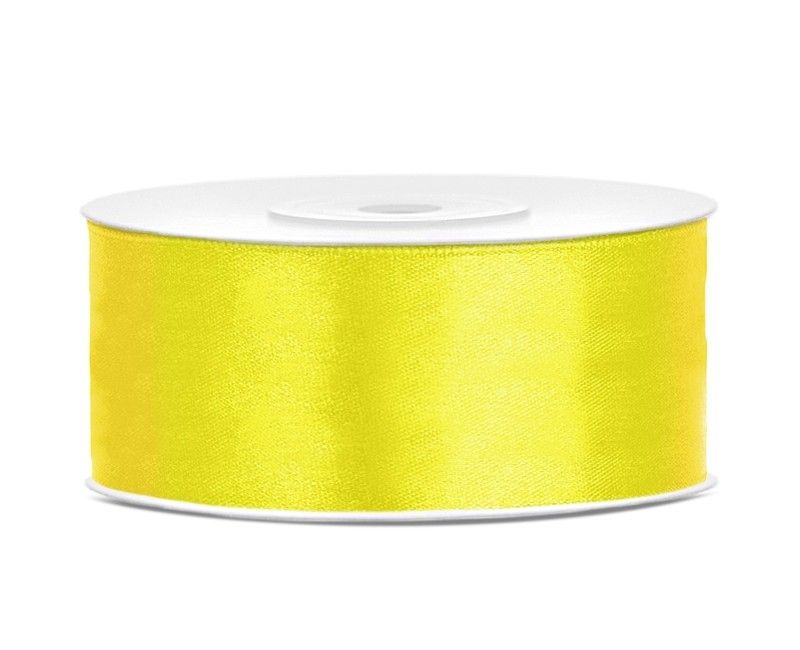 Satijn lint geel 25mm breed, rol 25 mtr