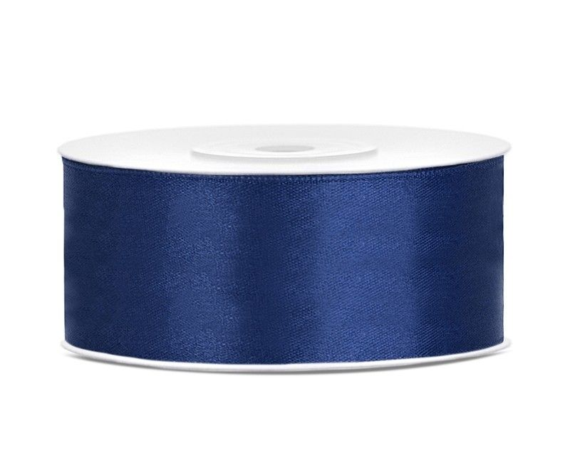 Satijn lint navy blauw 25mm breed, rol 25 mtr