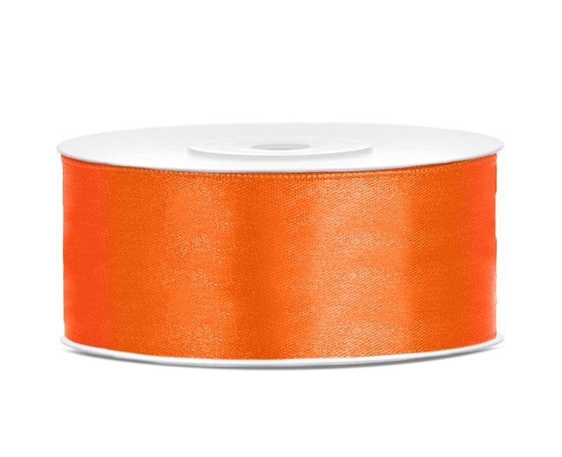 Satijn lint oranje 25mm breed, rol 25 mtr