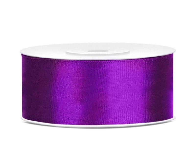 Satijn lint paars 25mm breed, rol 25 mtr