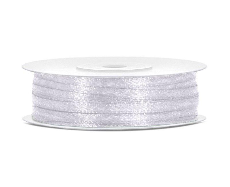 Satijn lint wit 3mm breed, rol 50 mtr