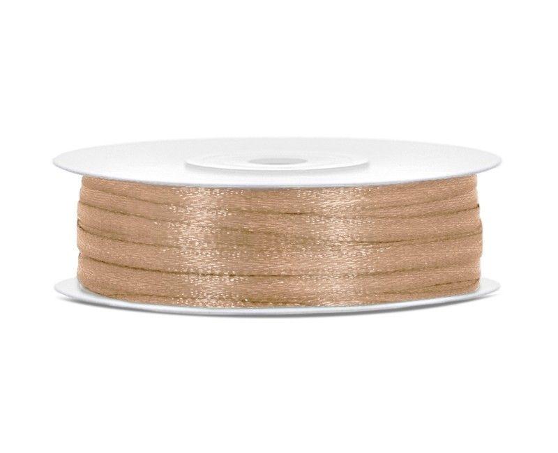 Satijn lint goud 3mm breed, rol 50 mtr