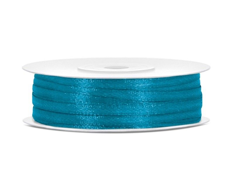 Satijn lint turquoise 3mm breed, rol 50 mtr