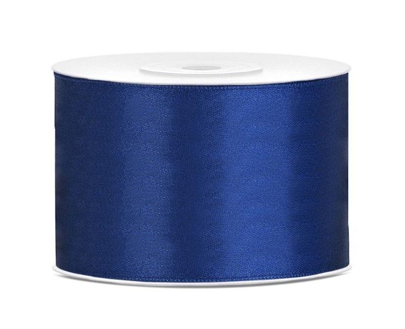 Satijn lint navy blauw 50mm breed, rol 25 mtr