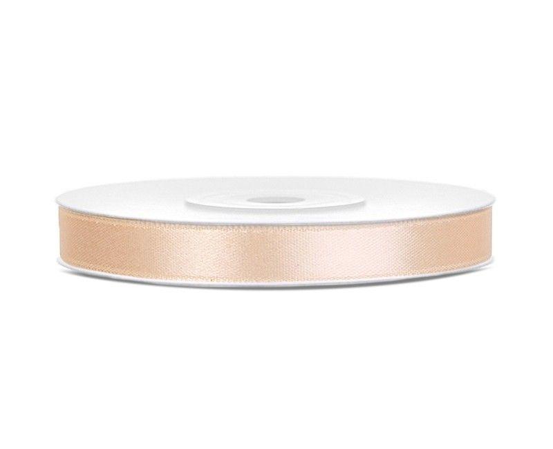 Satijn lint crème wit 6mm, rol 25 mtr