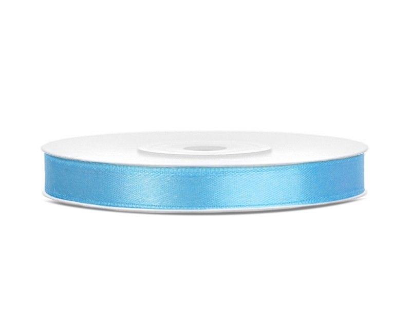 Satijn lint lichtblauw 6mm breed, rol 25 mtr