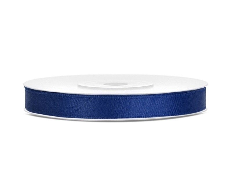 Satijn lint navy blauw 6mm breed, rol 25 mtr