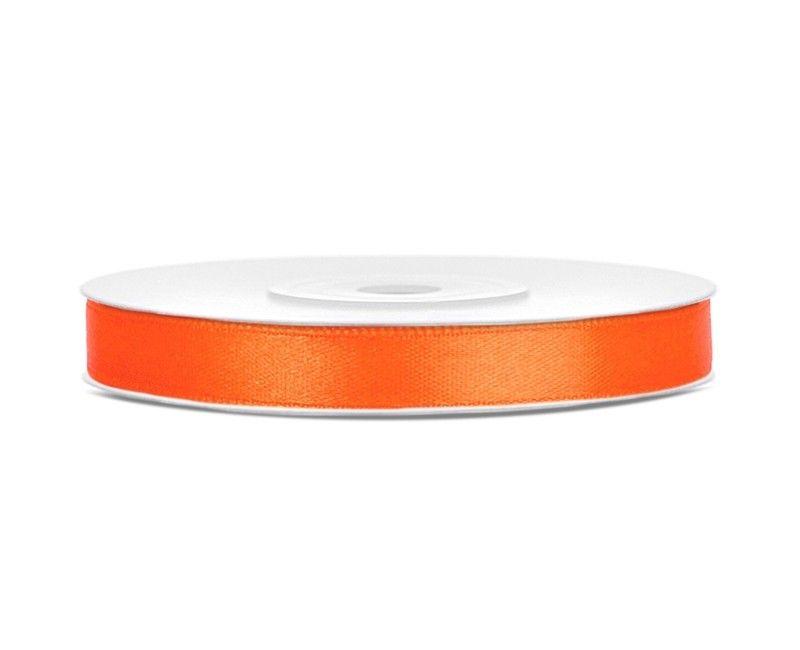 Satijn lint oranje 6mm breed, rol 25 mtr