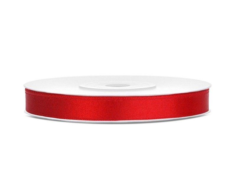 Satijn lint rood 6mm breed, rol 25 mtr
