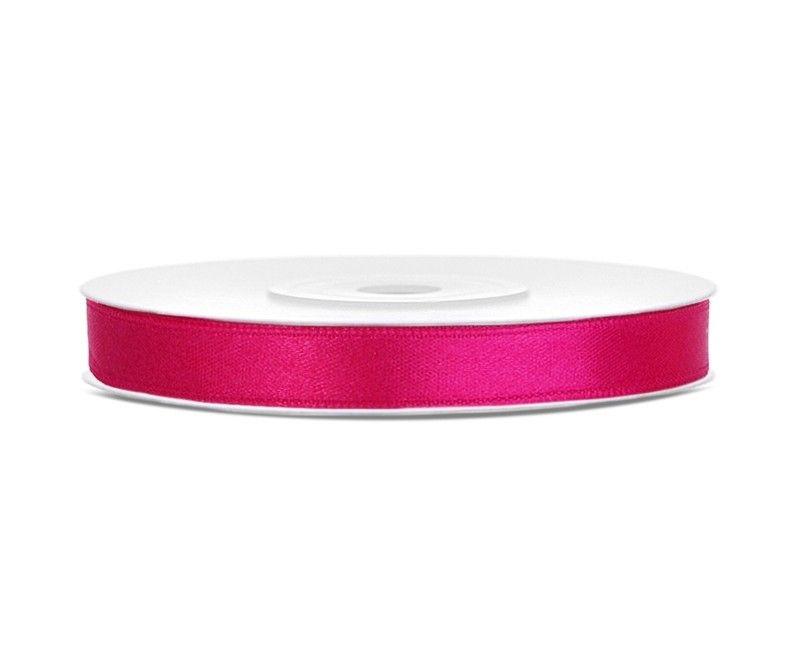 Satijn lint diep roze 6mm breed, rol 25 meter