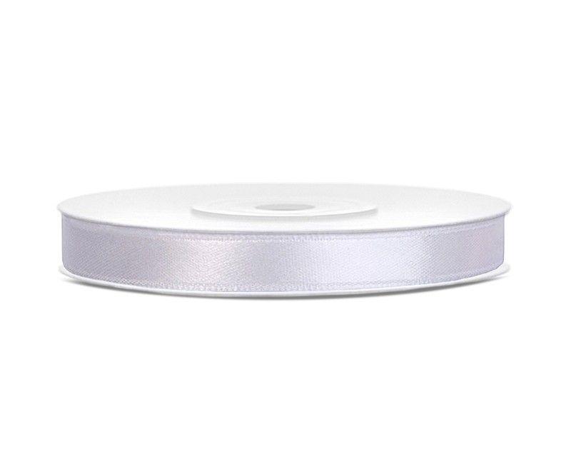 Satijn lint wit 6mm breed, rol 25 mtr