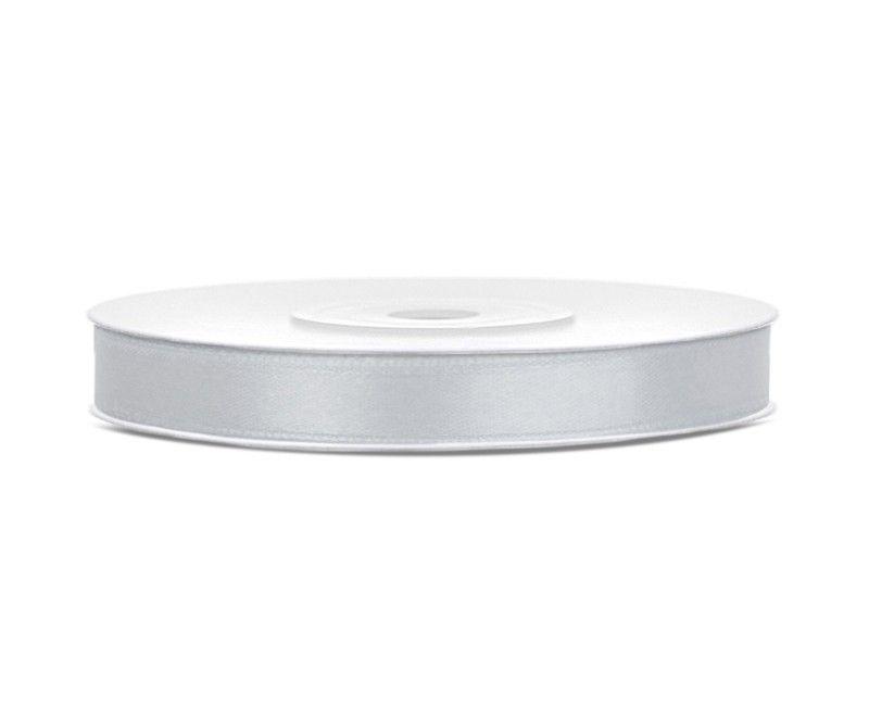 Satijn lint zilver 6mm breed, rol 25 mtr