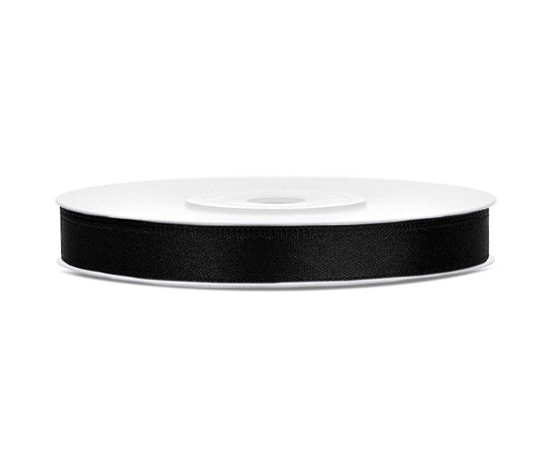 Satijn lint zwart 6mm breed, rol 25 mtr