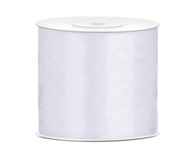 Satijn lint wit 75mm breed, rol 25 mtr