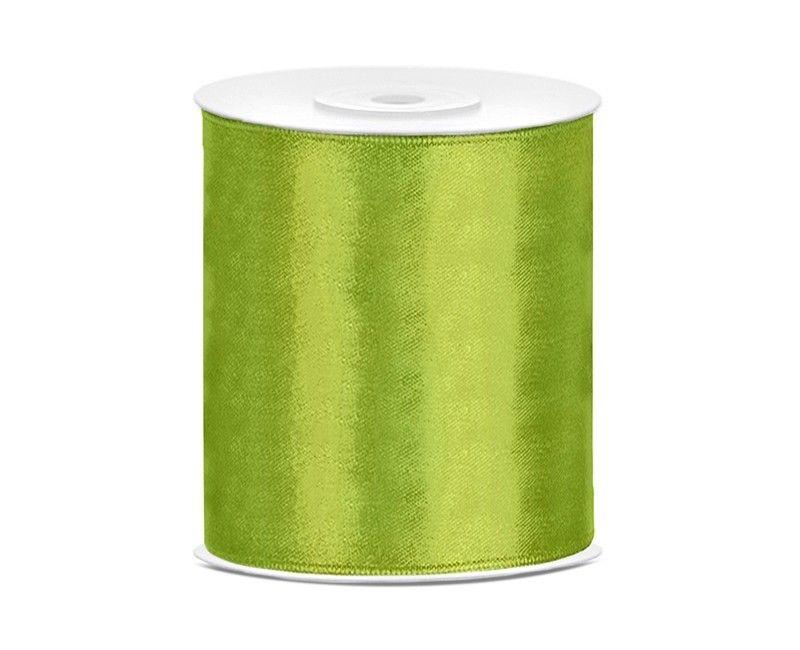 Satijn lint groen 100mm breed, rol 25 meter