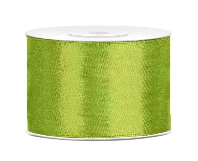 Satijn lint groen 50mm breed, rol 25 meter