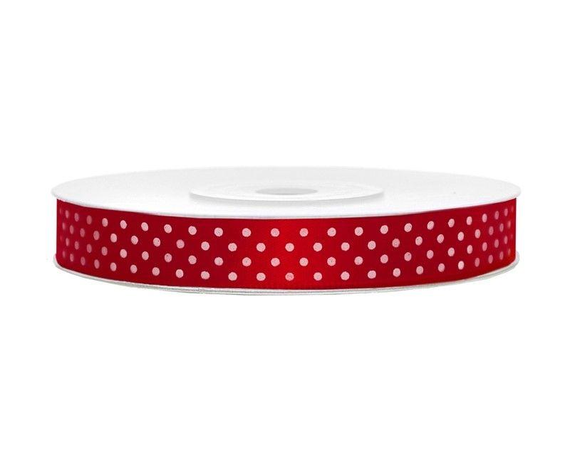 Satijn lint rood met witte stippen 12mm breed, rol 25 meter